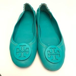 Tory Burch Teal Turquoise Reva Flats Size 8